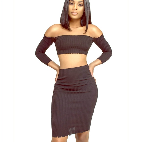 Black 2 piece skirt set